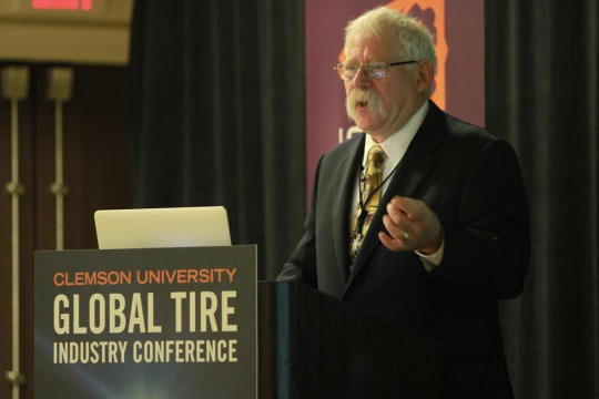 Michael Blumenthal speaking at the 2015 Clemson University Global Tire Conference